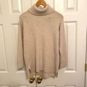 Uniqlo Beige Turtleneck Long Sweater Marled Beige